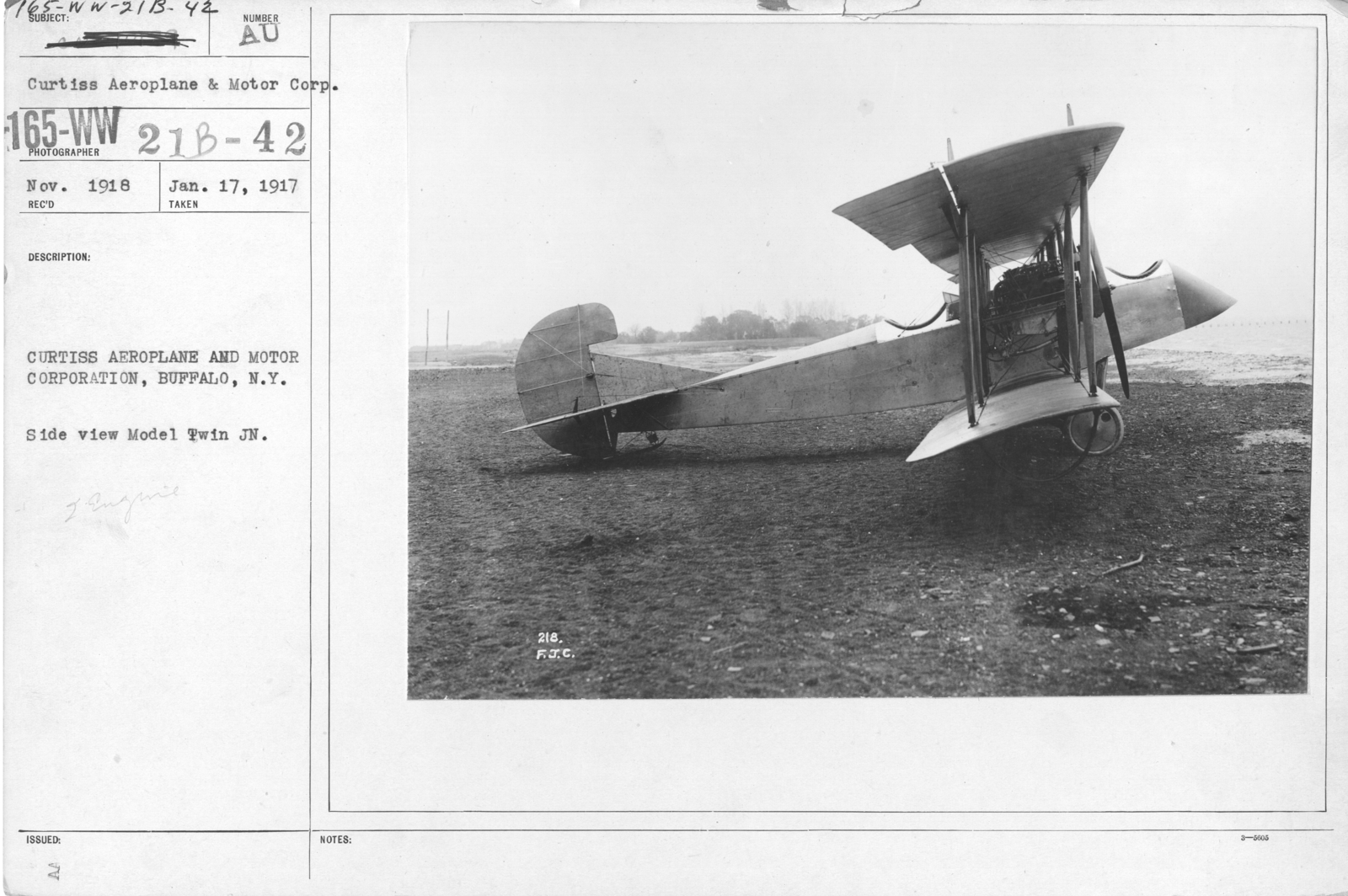 Airplanes - Types - Curtiss Aeroplane and Motor Corporation, Buffalo, N.Y. Side view Model Twin JN