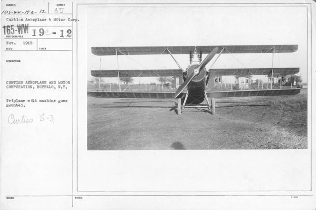 Airplanes - Types - Curtiss Aeroplane & Motor Corporation, Buffalo, N.Y. Triplane with machine guns mounted