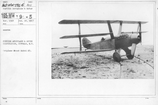 Airplanes - Types - Curtiss Aeroplane & Motor Corporation, Buffalo, N.Y. Triplane Scout Model S3