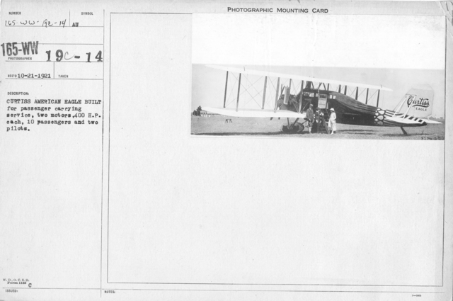 Airplanes - Types - Curtiss American Eagle built for passenger carrying service, two motors, 400 H.P. each, 10 passengers and two pilots