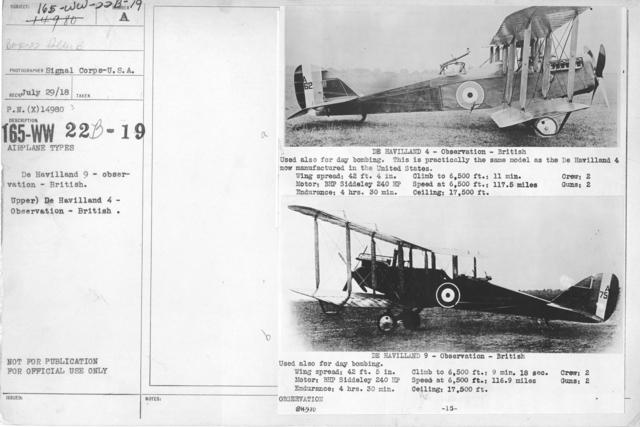 Airplanes - Types - De Havilland 9 - observation - British. Upper) De Havilland 4 - Observation - British. Signal Corps-U.S.A