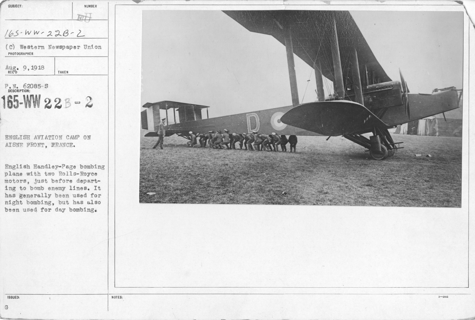 Airplanes - Types - English Aviation Camp on Aisne Front, France. English Handley-Page bombing plane with two Rolls-Royce motors, just before departing to bomb enemy lines. It has generally been used for night bombing, but has also been used for day bombing