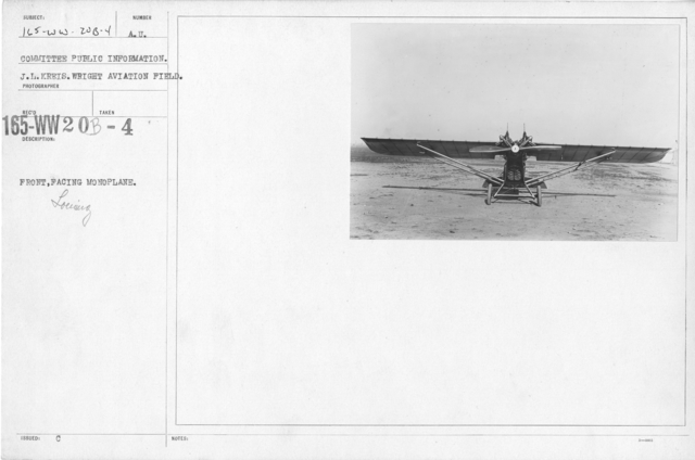 Airplanes - Types - Front, facing monoplane. Committee Public Information. Wright Aviation Field