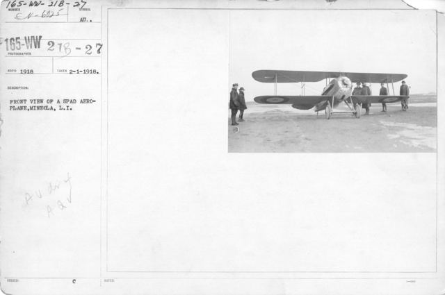 Airplanes - Types - Front view of a spad aeroplane, Mineola, L.I
