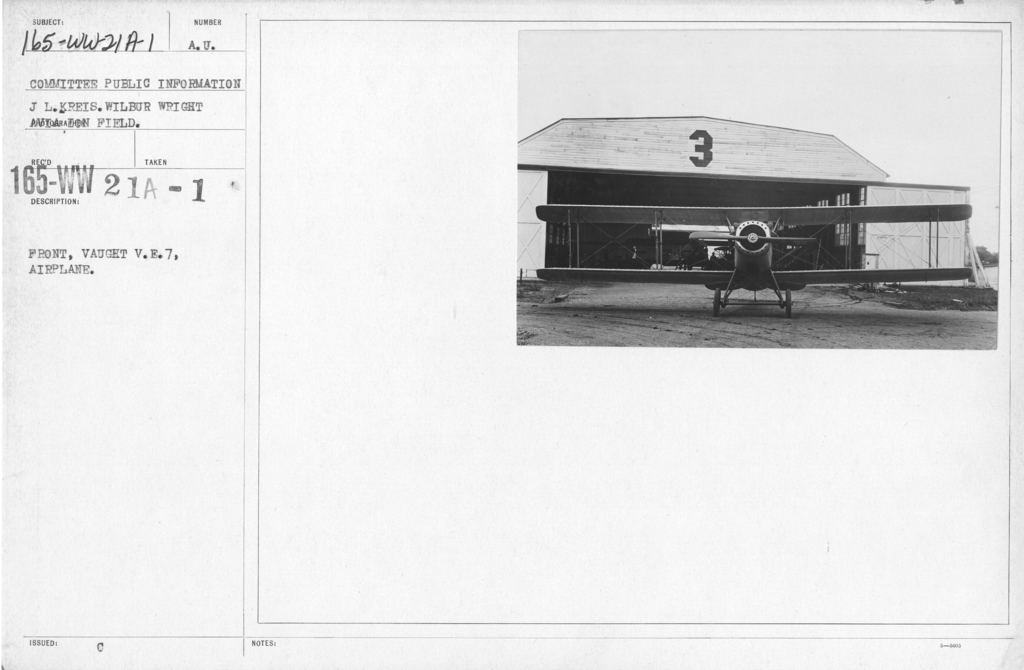 Airplanes - Types - Front, Vought V.E.7, Airplane. Committee Public Information. Wilbur Wright Aviation Field