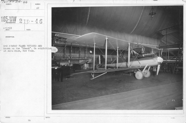 """Airplanes - Types - G-2 combat plane revised and known as the """"Shark"""". On exhibition at Aero Show, New York"""