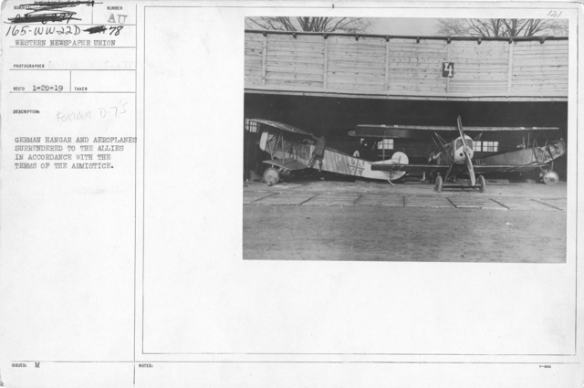 Airplanes - Types - German hangar and aeroplanes surrounded to the Allies in accordance with the terms of the Armistice. Fokken D-7's
