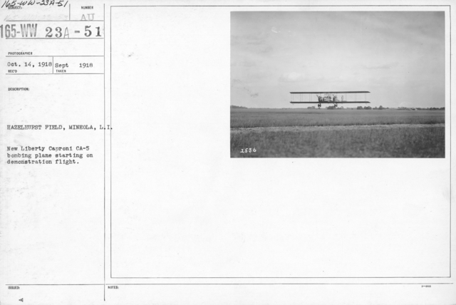 Airplanes - Types - Hazelhurst Field, Mineola, L.I. New Liberty Caproni CA-5 bombing plane starting on demonstration flight