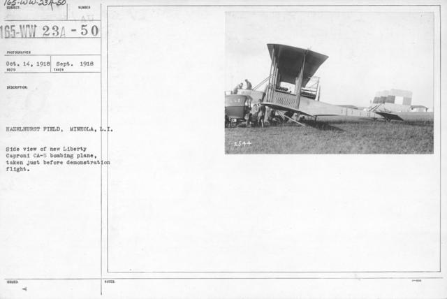 Airplanes - Types - Hazelhurst Field, Mineola, L.I. Side view of new Liberty Caproni CA-5 bombing plane, taken just before demonstration flight