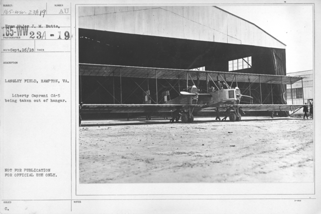 Airplanes - Types - Langley Field, Hampton, VA. Liberty Caproni CA-5 being taken out of hangar. From Major J.M. Butts
