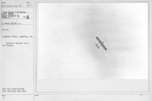 Airplanes - Types - Langley Field, Hampton, VA. Liberty Caproni CA-5 in flight. From Major J.M. Butts