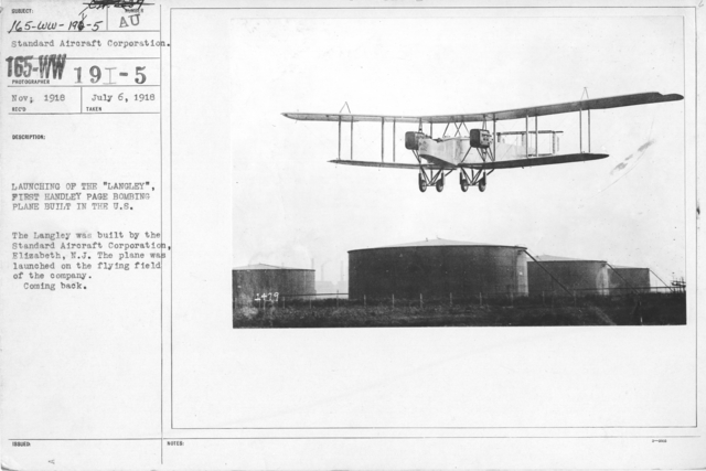 """Airplanes - Types - Launching of the """"Langley"""", First Handley Page Bombing Plane Built in the U.S. The Langley was built by the Standard Aircraft Corporation, Elizabeth, N.J. The plane was launched on the flying field of the company. Coming back. From Standard Aircraft Corporation"""