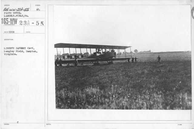 Airplanes - Types - Liberty Caproni, CA 5, Langley Field, Hampton, Virginia. Photo Detch. Langley Field, VA
