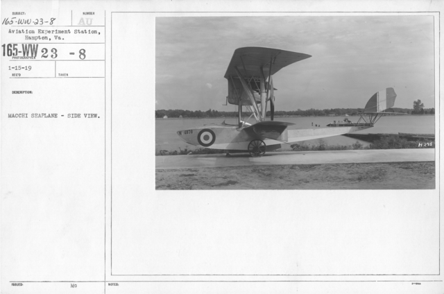 Airplanes - Types - Macchi Seaplane - Side View. Aviation Experiment Station, Hampton, VA