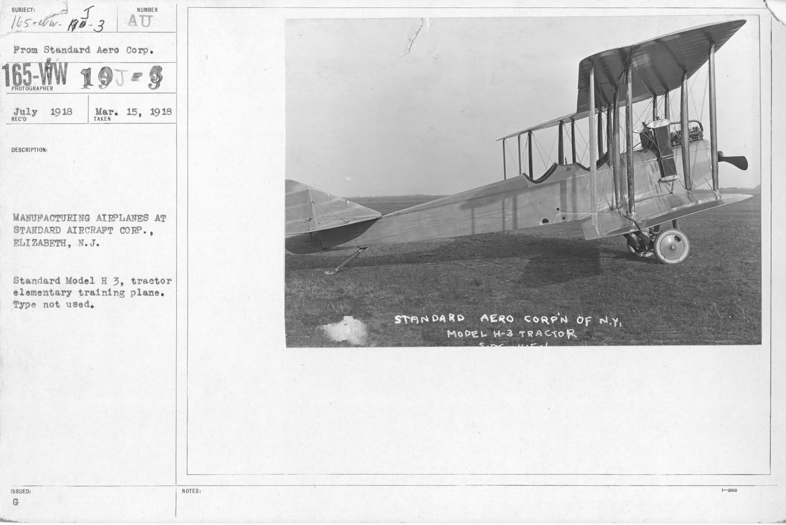 Airplanes - Types - Manufacturing airplanes at Standard Aircraft Corp. Elizabeth, N.J. Standard Model H.3, tractor elementary training plane, type not used