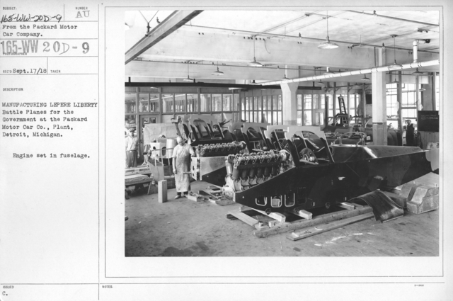 Airplanes - Types - Manufacturing Le Pere Liberty Battle Planes for the Government at the Packard Motor Car Co., Plant Detroit, Michigan. Engine set in fuselage