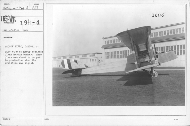 Airplanes - Types - McCook Field, Dayton, O. Side view of newly designed Glenn Martin Bomber. This plane was about to be put in produced when the armistice was signed. From C.P.I