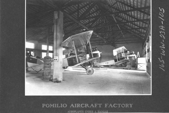 Airplanes - Types - Pomilio Aircraft Factory. Aeroplanes under a hangar