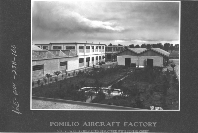 Airplanes - Types - Pomilio Aircraft Factory. Side view of a completed structure with centre court
