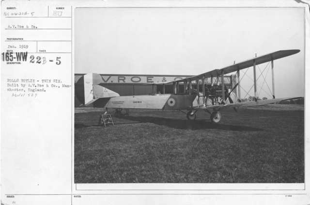 Airplanes - Types - Rolls Royce - Twin Six. Built by A.V.Roe & Co., Manchester, England. Model 529