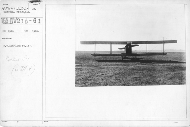 Airplanes - Types - S.C. Airplane No. 157. Curtiss J-1