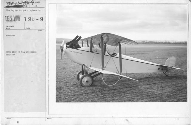 Airplanes - Types - Side view of T-4 messenger airplane. The Dayton-Wright Airplane Co. Plant, Dayton, Ohio