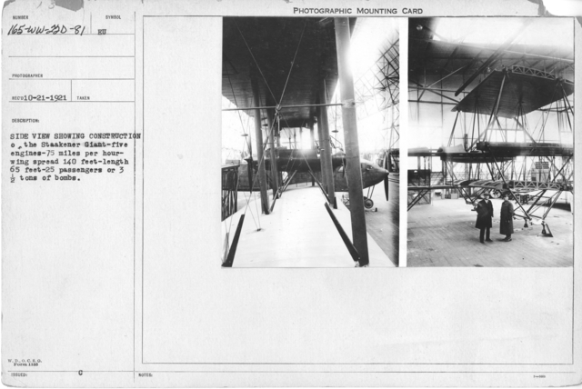 Airplanes - Types - Side view showing construction of the Staakener Giant-give engines-75 miles per hour-wing span spread 140 feet-length 65 feet-25 passengers or 3 1/2 tons of bombs