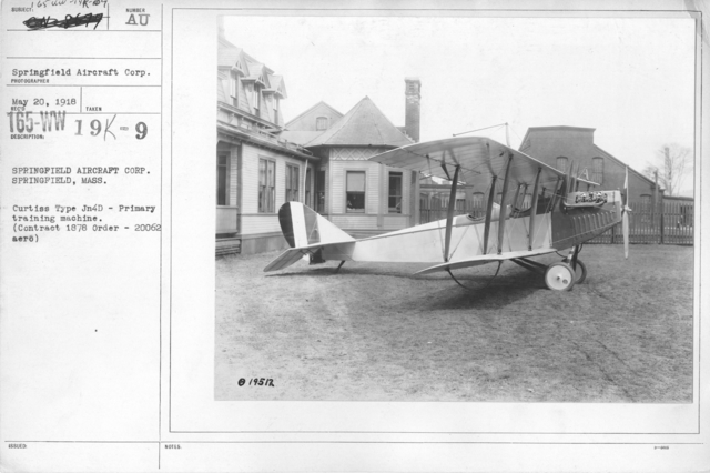 Airplanes - Types - Springfield Aircraft Corp. Springfield, Mass. Curtiss Type JN4D - Primary training machine. Contract 1878 Order 20062 aero
