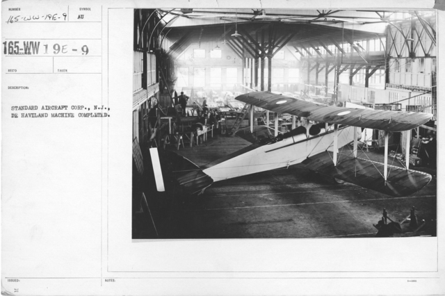 Airplanes - Types - Standard Aircraft Corp., N.J., De Haviland machine completed