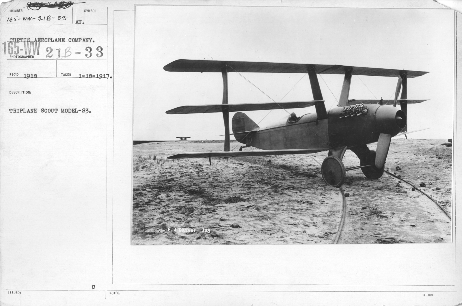 Airplanes - Types - Triplane Scout Model-S3. Curtiss Aeroplane Company