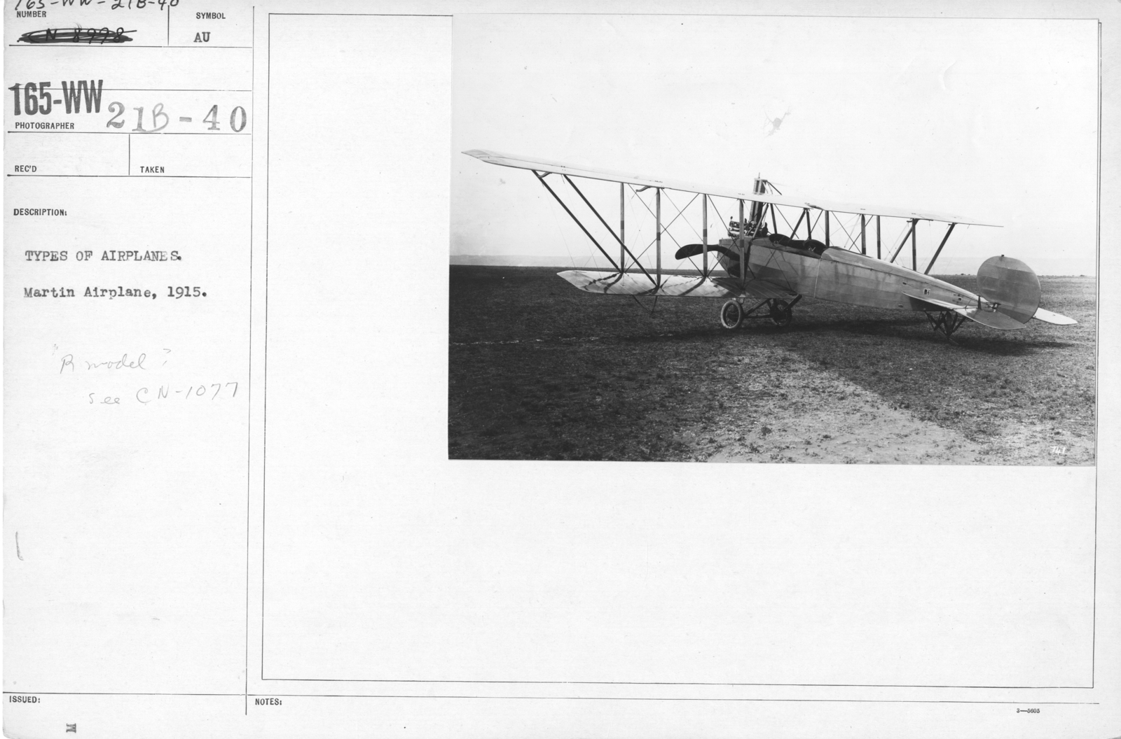 Airplanes - Types - Types of airplanes. Martin Airplane, 1915. R Model