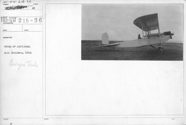 Airplanes - Types - Types of airplanes. S.C. Airplane, 1914. Burges Tractor