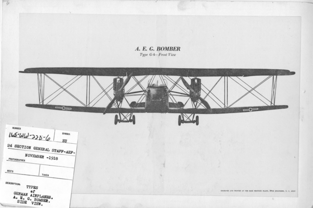 Airplanes - Types - Types of German Airplanes. A.E.G. Bomber, Side View