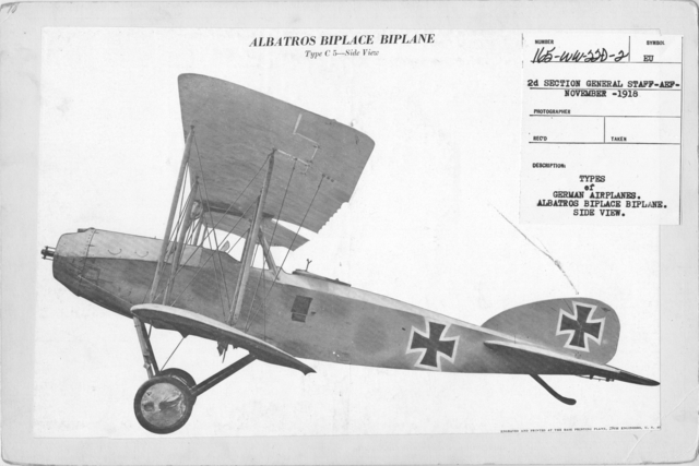 Airplanes - Types - Types of German Airplanes. Albatros Biplace Biplane. Side view