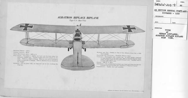 Airplanes - Types - Types of German Airplanes. Albatros Biplane Scout. Type D 5a - Side View. From 2d Section General Staff - AEF