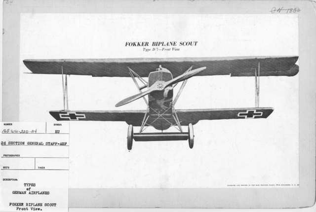 Airplanes - Types - Types of German Airplanes. Fokker Biplane Scout. Front View. From 2d Section General Staff - AEF