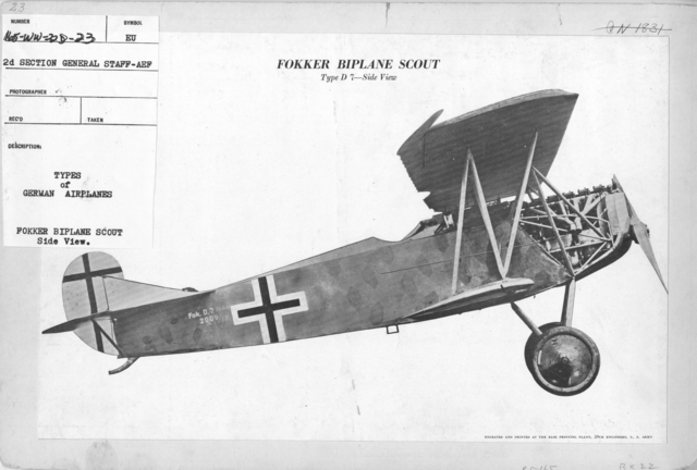 Airplanes - Types - Types of German Airplanes. Fokker Biplane Scout. Side View. From 2d Section General Staff - AEF