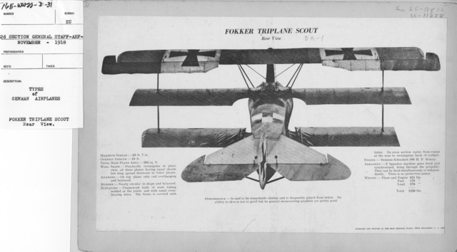 Airplanes - Types - Types of German Airplanes. Fokker Triplane Scout. Rear view