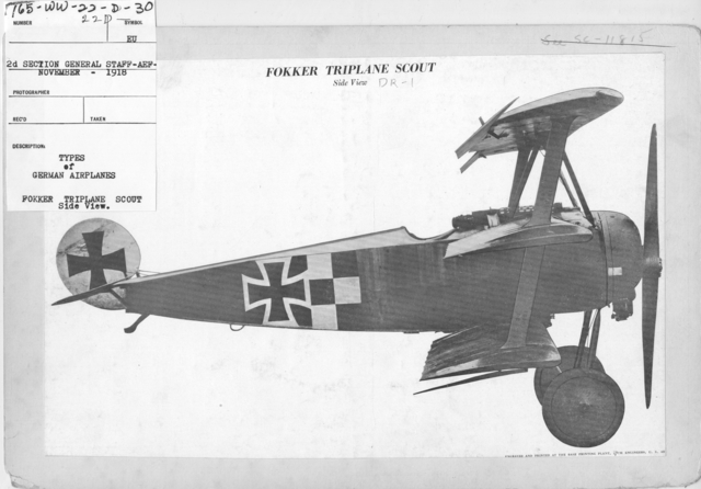 Airplanes - Types - Types of German Airplanes. Fokker Triplane Scout. Side View