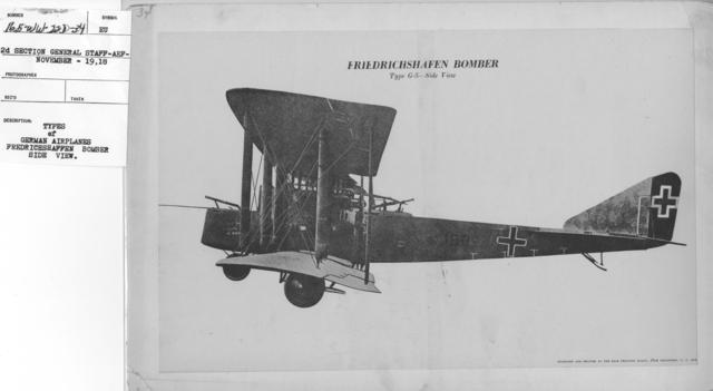 Airplanes - Types - Types of German Airplanes. Fredrichshaffen Bomber. Side View