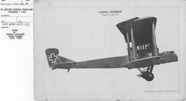 Airplanes - Types - Types of German Airplanes. Gotha Bomber. Side View