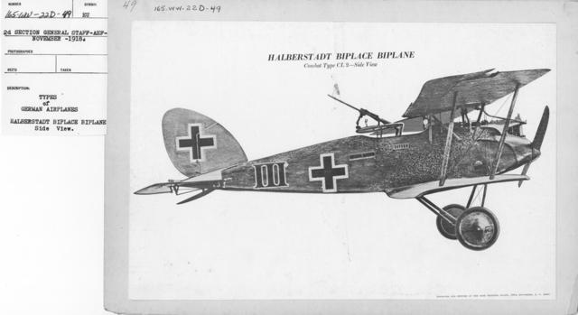 Airplanes - Types - Types of German Airplanes. Halberstadt Biplace Biplane. Side View