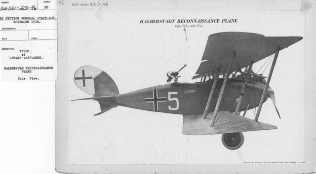 Airplanes - Types - Types of German Airplanes. Halberstadt Reconnaissance Plane. Side View
