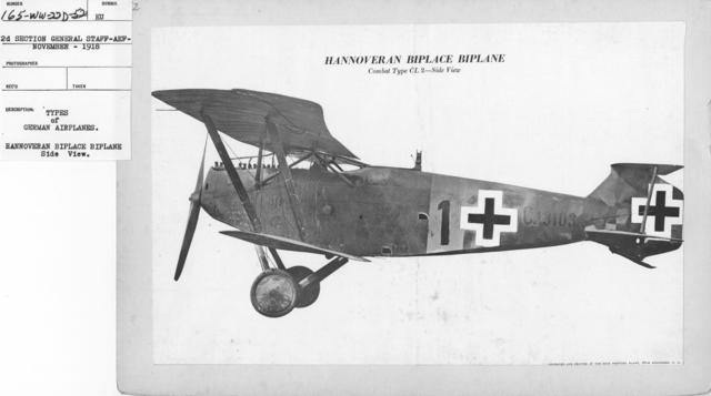 Airplanes - Types - Types of German Airplanes. Hannoveran Biplace Biplane. Side view