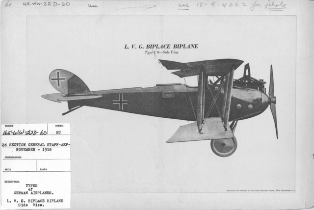 Airplanes - Types - Types of German Airplanes. L.V.G. Biplace Biplane. Side View