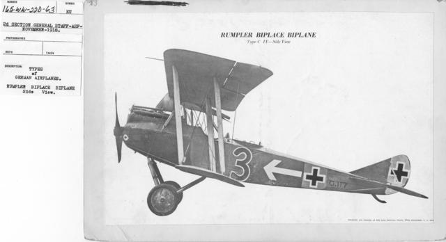 Airplanes - Types - Types of German Airplanes. Rumpler Biplace Biplane. Side View