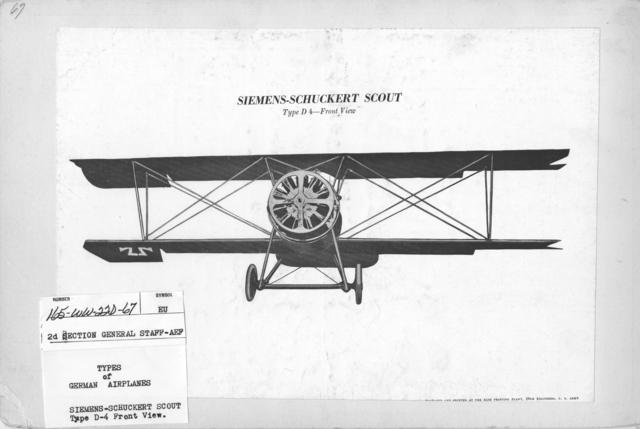 Airplanes - Types - Types of German Airplanes. Siemens-Schuckert Scout. Type D-4. Front View