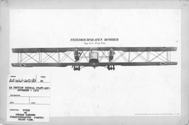 Airplanes - Types - Types of German Bombers. Fredrichshaffen Bombers. Front View