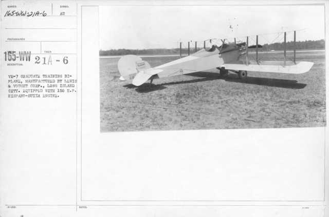 Airplanes - Types - VE-7 graduate training biplane, manufactured by Lewis & Vought Corp., Long Island City. Equipped with 150 H.P. Hispano-Suiza Engine