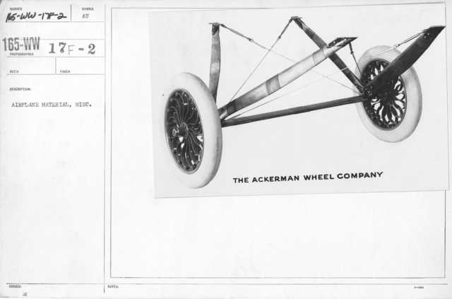 Airplanes - Wheels - Airplane material, misc. The Ackerman Wheel Company